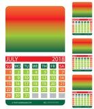 Griglia del calendario luglio August June Fotografia Stock Libera da Diritti