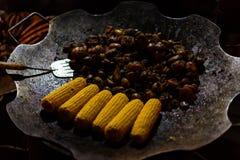 Griglia del carbone con carne mista Immagini Stock Libere da Diritti