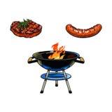 Griglia del carbone del BBQ, bistecca di manzo e salsiccia rotonde Fotografia Stock