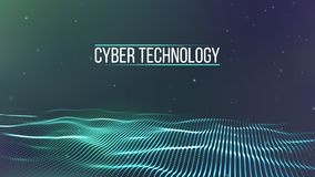 Griglia del fondo 3d Wireframe futuristico di tecnologia di Ai di tecnologia della rete cyber del cavo Intelligenza artificiale S royalty illustrazione gratis