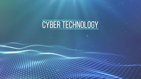 Griglia del fondo 3d Wireframe futuristico di tecnologia di Ai di tecnologia della rete cyber del cavo Intelligenza artificiale S illustrazione di stock