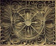 Griglia della finestra da vecchio ferro arrugginito su una parete di pietra Foto dalla Spagna Fotografia Stock