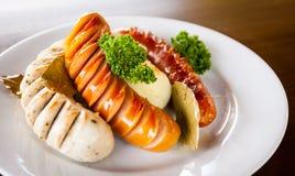Griglia della salsiccia della miscela Fotografia Stock