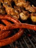 Griglia delle salsiccie Fotografia Stock