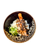 Griglia di color salmone con riso - alimento giapponese Fotografie Stock Libere da Diritti