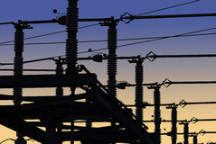 Griglia di corrente elettrica in siluetta fotografie stock libere da diritti