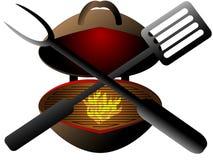 Griglia disegnata del giardino pronta per il barbecue Immagini Stock Libere da Diritti