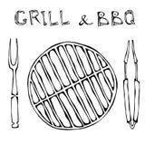 Griglia e BBQ vuoti Picnic e tenaglie e forcella degli apparecchi del barbecue Partito esterno Illustrazione disegnata a mano Sti royalty illustrazione gratis