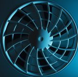 Griglia e fan di ventilazione alla luce blu Fotografia Stock