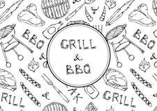 Griglia ed iscrizione del BBQ Modello senza cuciture del partito della griglia del BBQ di estate Bistecca, salsiccia, griglia del Immagini Stock