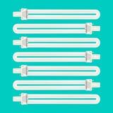 Griglia elettrica - 2 fluorescenti Pin Light Bulbs Fotografie Stock Libere da Diritti