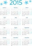 Griglia europea semplice del calendario da 2015 anni Immagini Stock