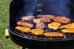 Grigliando su un barbecue Fotografia Stock Libera da Diritti
