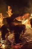 Grigliare bistecca sulle fiamme aperte fotografia stock libera da diritti