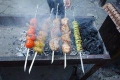 Grigliare shashlik sulla griglia del barbecue Fotografia Stock Libera da Diritti