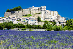Grignan with lavender field. Department Drome, Rhone-Alpes, France Royalty Free Stock Photos