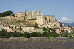 Grignan with lavender field, Departement Drome, Rh Stock Images