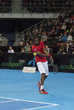 Grigor Dimitrov defeated Monfils in a demonstrative match in Are Royalty Free Stock Images
