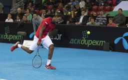 Grigor Dimitrov defeated Monfils in a demonstrative match in Are Royalty Free Stock Image