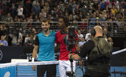 Grigor Dimitrov defeated Monfils in a demonstrative match in Are Stock Photos
