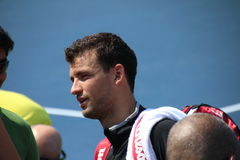Grigor Dimitrov. Professional Bulgarian tennis player Grigor Dimitrov during his practice session at the 2013 US open tennis tournament Royalty Free Stock Photos