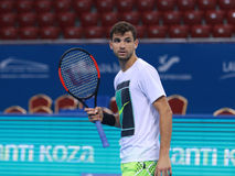 Grigor Dimitrov training on the court Royalty Free Stock Images