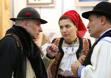 Grigore Lese at National Tourism Fair of Romania. 2018 in Bucharest - talk with romanians from Maramures at the stand of Maramures County.  Grigore Leşe is a Royalty Free Stock Images