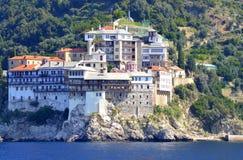 Grigoriou klostermontering Athos Greece Royaltyfri Fotografi