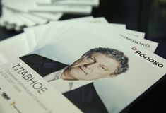 Grigory Yavlinsky, materiais de propaganda do candidato presidencial da Federação Russa foto de stock