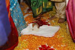 Griha Pravesh. First entry in the house during an auspicious date and time. House warming ceremony Stock Image