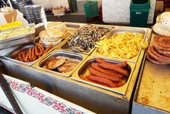 Griilled sausages at the beer festival royalty free stock images