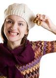 Grijnzend meisje met fig. in haar hand royalty-vrije stock foto's