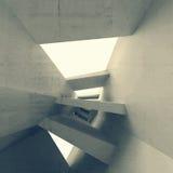Grijs abstract 3d leeg binnenland met gloeiende lichte portalen Stock Afbeeldingen