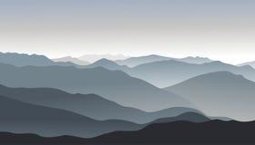 Grijs berglandschap Vector illustratie Stock Foto