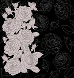 Grijs boeket van rozen op zwarte achtergrond Royalty-vrije Stock Afbeelding