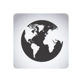 grijs de planeetpictogram van de embleemaarde vector illustratie