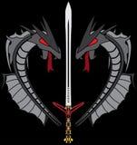 Grijs draken en zwaard Royalty-vrije Stock Afbeeldingen