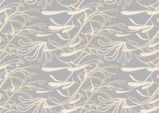 Grijs en beige naadloos abstract patroon met bloemenillustratie Stock Foto