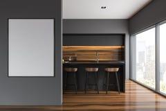 Grijs en houten keukenbinnenland, bar, affiche Stock Foto's