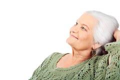 Grijs-haired vrouw stock afbeelding