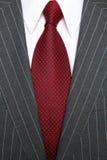 Grijs pinstripe kostuum en rode band Stock Fotografie