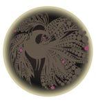 Grijs vogelsilhouet in een cirkel Stock Afbeeldingen