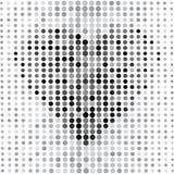Grijze abstracte achtergrond met punten en zwart hart Vector stock illustratie