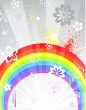 Grijze achtergrond met een regenboog Stock Illustratie