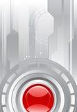 Grijze achtergrond met een rode lens stock illustratie