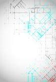 Grijze architecturale achtergrond met de bouw van plannen stock illustratie