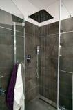 Grijze badkamers stock afbeeldingen