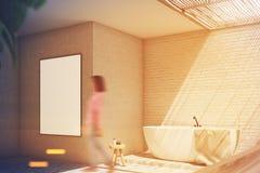Grijze badkamers, gestemde affichekant Royalty-vrije Stock Afbeeldingen