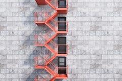 Grijze bakstenen die, rode brandtraptreden bouwen stock illustratie