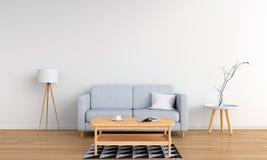 Grijze bank en lamp in witte woonkamer, het 3D teruggeven Royalty-vrije Illustratie